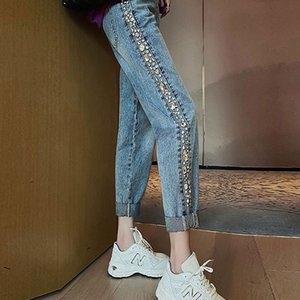 2020 Women Spring Denim Blue Ankle-Length Pants Fashion Diamond High waist Straight Loose Washed Pants Jeans Ladies Summer BW490