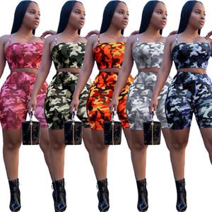 Femmes d'été 2 En deux pièces Tenues mis Camouflage Imprimer enveloppé poitrine gilet Crop Top Biker Shorts Survêtement vêtements Camo taille plus Vêtements