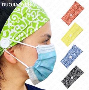 Geniş Elastik Maske Anti-tasma Düğme Kafa bandı Yoga Bayanlar Moda Baskı Casual Spor Koşu Kadınlar Kadın Kafa D8502 Sweat emdirin