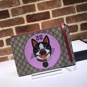 2020 Top Quality Celebrity design Letter embossing Embroidery Dog Canvas Clutch Genuine Leather Canvas 506280 Handbag