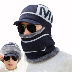 Men Winter Hat And Scarf Set For Women Male Hooded Cap Scarves With Brim Knit Visor Beanies Balaclava Adult Warm Stripe Bonnet