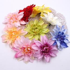 50pcs 10cm Simulación del crisantemo Decoración crisantemo de la cabeza Cabeza seda artificial de África flor de la boda del arte falsificación flor