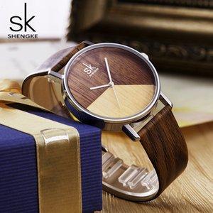 Shengke عالية الجودة المرأة الساعات الخشب والجلود ووتش للفتاة اليابانية كوارتز التناظرية ساعة اليد عادية ووتش مع علبة هدية