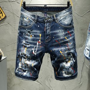 Shorts Blue Jeans Herren Ripped Pants Stretch Five Short Pants Jeans Gedruckt Sommer Neue Mode Hip Hop Streetwear