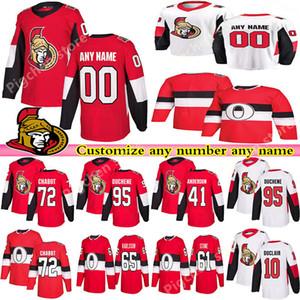 Personalizados Ottawa Senators jerseys 7 TKACHUK 41 ANDERSON 9 RYAN 39 ENGLUND 65 KARLSSON DUCHENE encargo cualquier número de cualquier maillot nombre de hockey