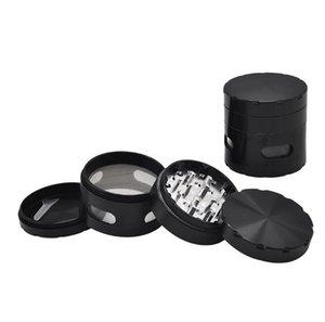 Metal Smoke Grinder Transparente Janela de Abertura de Liga de Alumínio Moedor de Fumaça de Diâmetro 63mm Quatro-camada Moedor de Fumaça