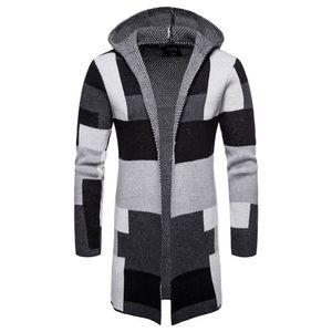 Erkek Casual Açık Ön Uzun Renk Blok Kazak Mont Kış Sıcak Patchwork Mont Hırka Kapşonlu Örgü Ceket Moda Erkek giyim