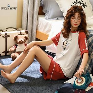 Temmuz'S SYJJF% 100 Pamuk Kadın Pijama Takımları O Yaka Kısa Kollu Kadın Yaz Homewear Sevimli Karikatür pijamalar Kadın Pijamas
