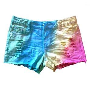 Designer cor Shorts Womens Jeans Shorts com bolsos Mid cintura tingido laço regular contraste Shorts Loose Women