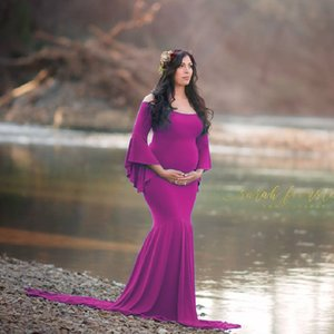 Maternity Dress For Photo Shoot Maternity Dresses Baby Shower Clothes Long Sleeves Dress Maxi V-Neck Clothing