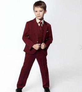 Официальная одежда мальчика настроенная винно-красная одиночная пряжка качественный костюм мальчика костюм-тройка (куртка + брюки + жилет) мальчик танцевальная вечеринка костюм платье