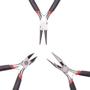 3pcs / set Acero # 45 de bricolaje alicates de la joyería Herramientas Equipos Conjuntos de punta redonda Cortaalambres corte lateral joyería Alicates Negro
