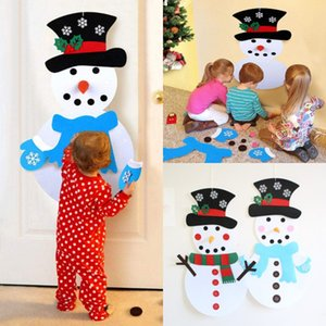 DIY Felt Christmas Snowman Ornaments Non-Woven Fabrics Felt Snowman DIY Tür Wanddekoration 1 Set Handmade Puzzle Schneemann hängend