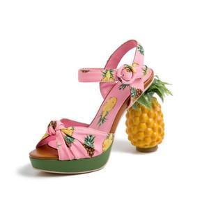 Женщины розовый Платформа ананас сандалии коренастый ананас Высокий каблук Лето Сандал Woman Ремешки открытый носок сандалии партии способа ботинок платья