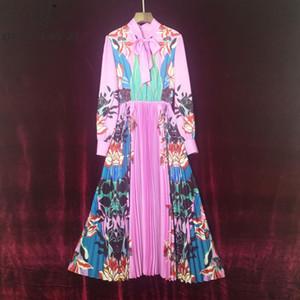 Qian Han Zi 2020 spring summer designer fashion long dress Women's Bow Collar Pleated robe femme Vintage Print Maxi Dress