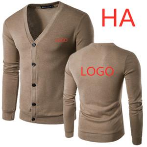HA مخصص أي شعارات الرجال بدوره إلى أسفل طوق زر حتى محبوك الخريف محبوك بلوزات الصلبة ذكر ألبسة التنزه بلايز المتناثرة Sweatercoat