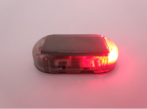 USB Solar Power LED Car Alarm Light Anti-Theft Warning Flash Blinking Fake Flash Lamp Red Blue