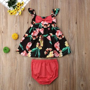 0-18M Summer Toddler Kids Baby Girls 2PCS Sets Floral Print Sleeveless T-Shirts Vest Tops+Shorts