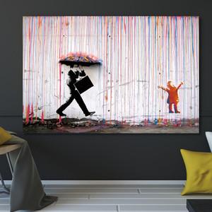 Banksy colorata pittura Pioggia parete di arte della tela di canapa della decorazione della casa Artwork Poster e stampe pitture murali No Frame