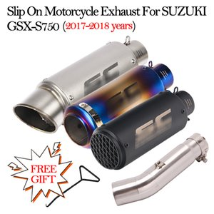 Slip On Motorcycle Exhaust Pipe Escape Moto Modified 51mm Muffler Middle Link Pipe For GSX S750 GSX-S750 2017 2018 Years
