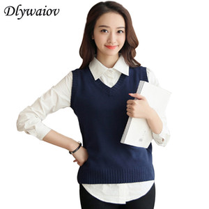 Autumn Wool Sweater Vest Women New Sleeveless O-neck Knitted Vest College Style Female Casual Tank Tops Pullover Y19042801