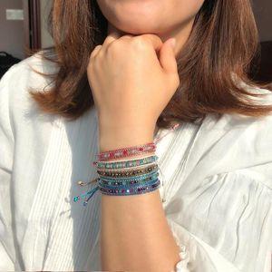 Enthic Wind Color Rope Vsco Bracelets for Girl Women Hand Woven Hand Rope Hit Color Exotic Wind Pattern Crystal Bracelet