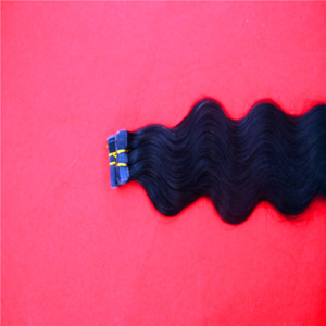 Jet Black Color Remy Tape In Human Hair Extensions 10-30 Incs Skin Weft Body Wave Hair Unprocessed Hair 2.0g pc 100g pack