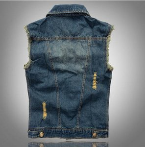 Waistcoat Jacket Denim Club Denim Hip Hop Cow Boy Vest VXO Outerwear Patchwork Vest Motorcycle Lapel Rqqlr