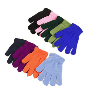 12 colores Baby Magic Gloves Candy Color Boys Girls Kintting Glove Kids Warm knitted Finger Stretch Mittens Students Outdoor Gloves M341