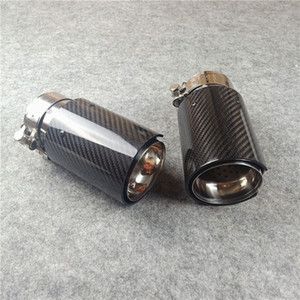 1 Piece IN 63MM OUT 92MM With M Logo Glossy Carbon Fiber Car Single Tail Mafler Pipes For M2 M3 M4