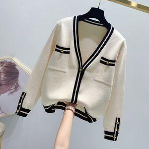 Graceful Short Sweater Cardigan Mantel Frauen 2020 Frühling-neue Art Kurz Höhe Art und Weise V-Ausschnitt Knit Debütantin Tops
