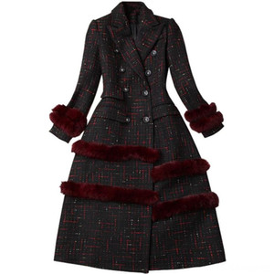 2019 Winter woolen Coats Fashion Fur Patchwork Plaid Wool Blend Vintage Long Women's Outerwear & Coats Women's Clothing double breasted slim