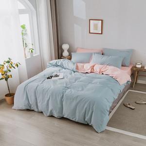 YAXINLAN cama cor sólida definir Pure algodão A / B de dupla face padrão Simplicidade lençol, fronha 4-7pcs colcha