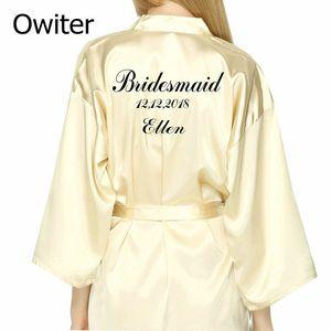 PERSO Robe personnalisée personnalité de mariage Kimono robe de mariée mariée Faux de fête en soie douce Accueil Peignoir pour les femmes Robes