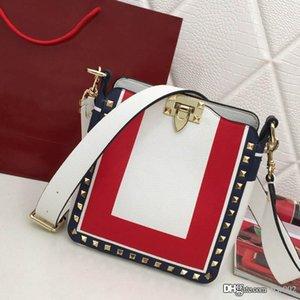 2020 new female messenger shoulder bag female studded bag luxury designer bag large capacity calfskin square color matching fashion