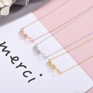 925 Infinity collares pendientes del regalo del día de San Valentín Cubic Zircon Declaración Doble Infinity 8 collar del encanto