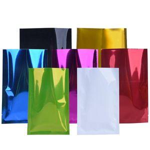 7X10cm 8X12cm 16Silk Color Aluminum Plated Flat Bag Powder Aluminum Foil Bag Plastic Food Vacuum Bag