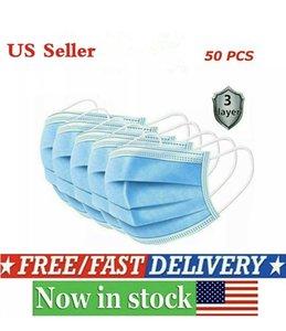 EUA armazém 24 horas enviar máscaras! Descartáveis 3 Camadas poeira máscara facial Máscaras A tampa protetora Set Anti-Máscara de poeira Fast Shipping