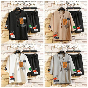Homens Casual T-shirt Set Sportwear Hot Fashion Trend Ins Harbour vento T-shirt Shorts Verão 2pc Treino Tops Praia soltos Suits executando