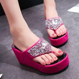 SAGACE Yaz Kadın Terlik çevirme kadınları Yapay elmas Takozlar ev Terlikler kadın Moda Klip Burun Plaj Ayakkabı 2019 Kadınlar flop