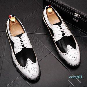 New Vintage Men luxury Designer gentleman Brogue black with white colors oxfords Dress Male Wedding prom Formal Shoes
