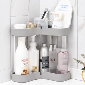 Canto Makeup Organizer rack Titular de armazenamento Cosmetic Plastic Duplo prateleiras Casa de banho Cozinha armazenamento prateleira Desk diversos Armazenamento T200319
