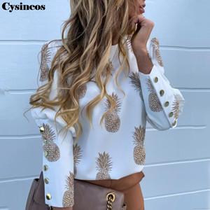 Cysincos Womon Puff Omuz Bluz Gömlek Elegant Ofis Lady Sonbahar Düğmesi Bluz Ananas Baskı Uzun Kollu Top Chemise femme
