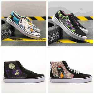 2019 New TNBC The Nightmare Before Christmas Sk8 Salut lueur dans l'obscurité Homme Chaussures Femmes Casual Halloween Era Noir Violet Graffiti Chaussures