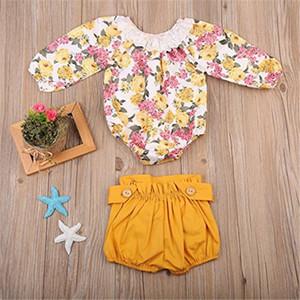 ملابس الأطفال ملابس ملابس البنات السراويل الصغيرة ... ... مجموعات أزهار الزهور الرخيصة Overalls الربيع الدانتيل الأطفال ملابس A41703