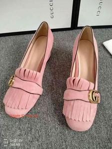 Nouveau modèle de correspondance des couleurs de broderie en cuir bouche pointue à faible profondeur confortable talon Chunky femmes célibataires chaussures talons hauts vraiment