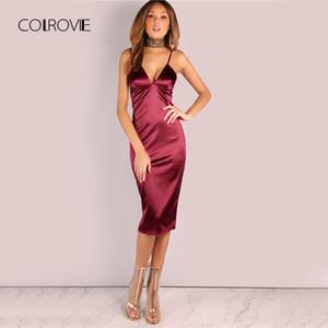 COLROVIE Borgoña Satin Party Club Vestido Profundo Cuello en V Mujer Vestidos de verano Sexy Bodycon Correa acanalada Señoras Midi Slip Vestido
