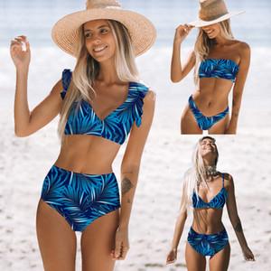 Твердая печати бикини Set Цветочные рюшами Купальники Женщины Sexy высокой талией бикини плеча Купальники Пляжная Купальник Mujer