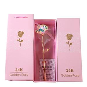Caja de regalo del día de boda 24K hoja de oro ligera llevada flor de Rose Para San Valentín regalo artificial luminosa flor Paquete WX9-1841