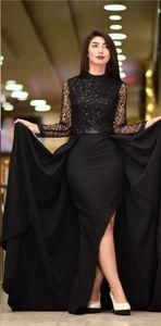 2019 Günstige High Neck Long Sleeves Prom Kleider Sexy Pailletten Side Split Abendkleid Lange Formale Party Cocktailkleider 2861